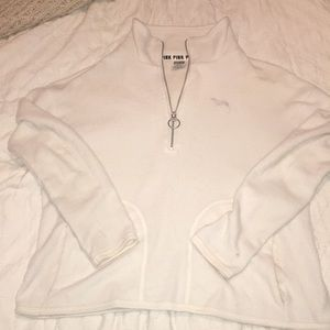 Victoria Secret PINK Quarterzip White fleece